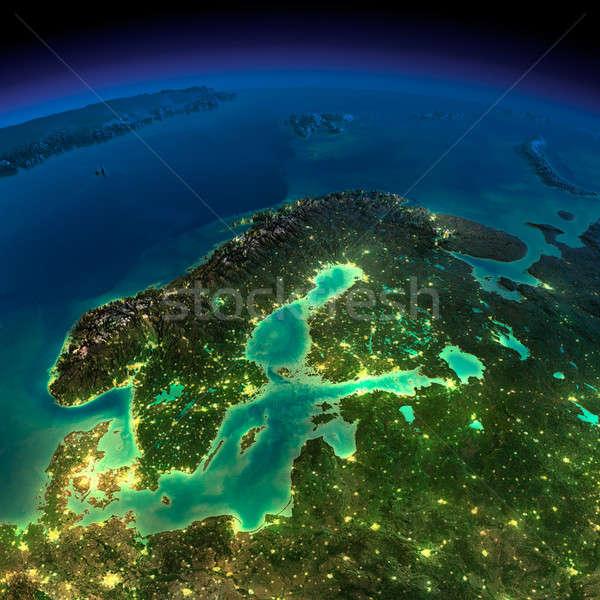 éjszaka Föld Európa Skandinávia rendkívül részletes Stock fotó © Antartis