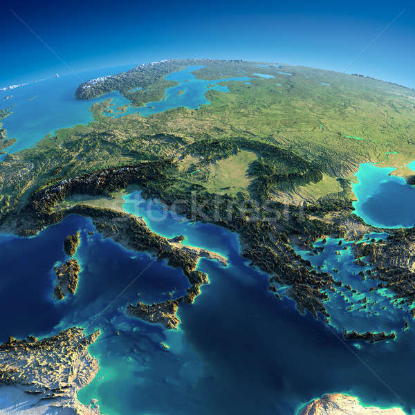 Detailed Earth. Italy, Greece and the Mediterranean Sea Stock photo © Antartis