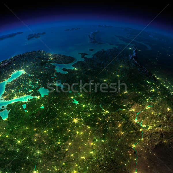 Night Earth. The European part of Russia Stock photo © Antartis