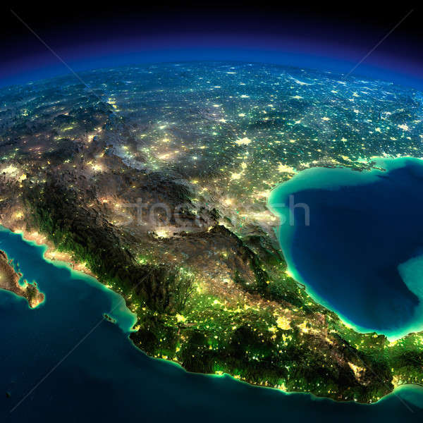 Night Earth. A piece of North America - Mexico Stock photo © Antartis