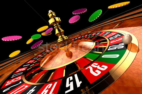 Casino roulette casino chips vliegen breed shot Stockfoto © Antartis