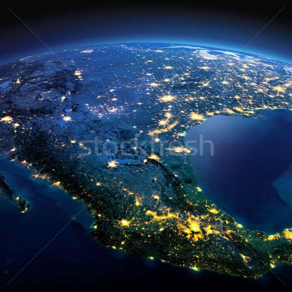 Részletes Föld Mexikó éjszaka Föld precíz Stock fotó © Antartis