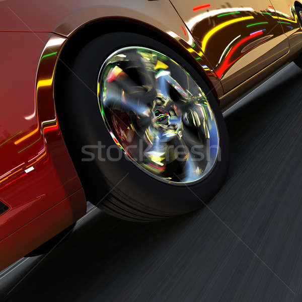 Dynamic racing car and the lights of the city Stock photo © Antartis