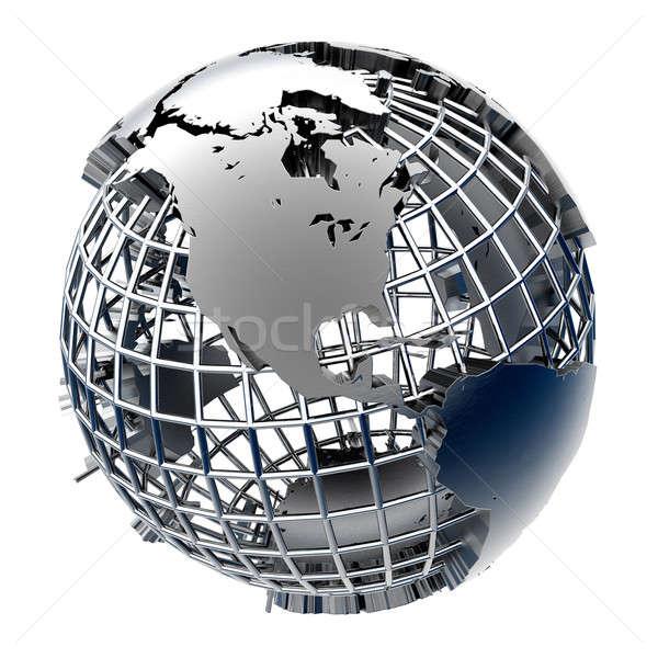 Stilizzato metal modello terra business mondo Foto d'archivio © Antartis