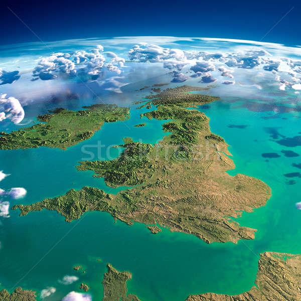 Föld Egyesült Királyság Írország rendkívül részletes eltúlzott Stock fotó © Antartis