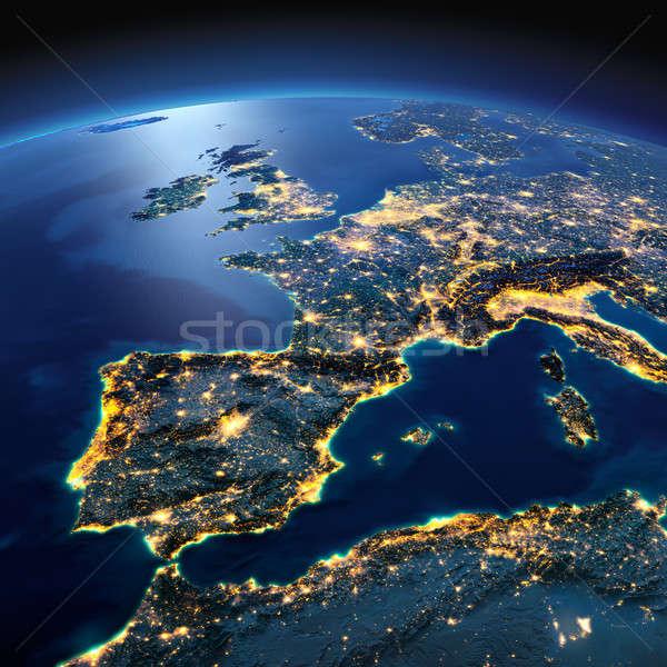 Részletes Föld Spanyolország mediterrán tenger éjszaka Stock fotó © Antartis