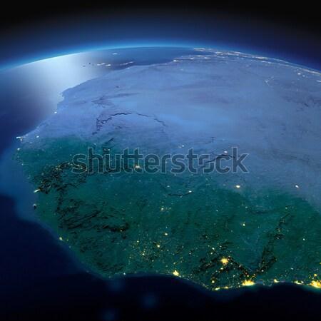Ayrıntılı toprak Avustralya Papua Yeni Gine gece dünya gezegeni Stok fotoğraf © Antartis