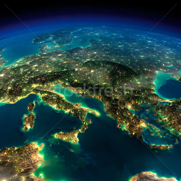 éjszaka Föld darab Európa Olaszország Görögország Stock fotó © Antartis