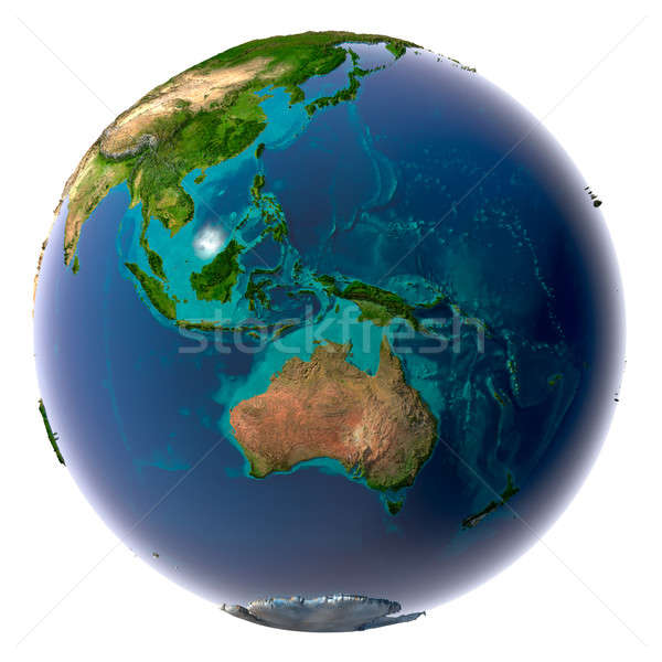 Realistic Planet Earth with natural water Stock photo © Antartis