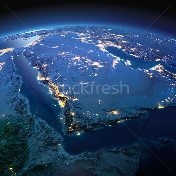Detalhado terra Arábia Saudita noite planeta terra preciso Foto stock © Antartis