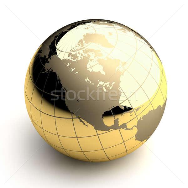 Golden Globe on white background Stock photo © Antartis