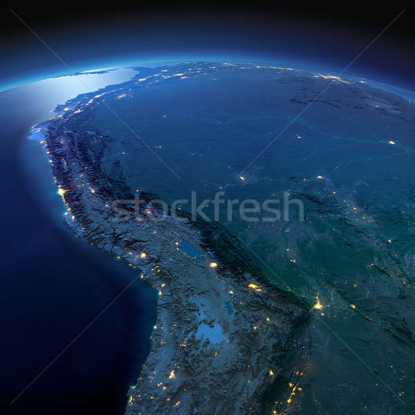 Detailed Earth. Bolivia, Peru, Brazil on a moonlit night Stock photo © Antartis
