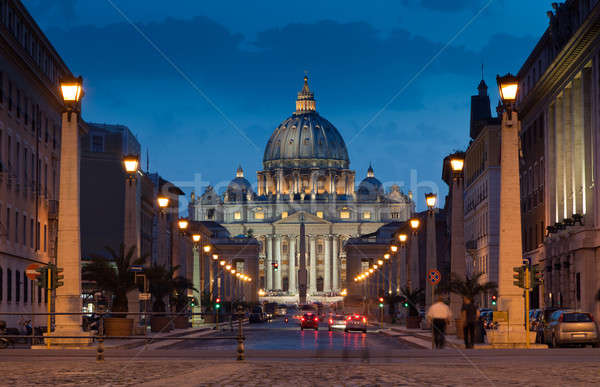 The magnificent evening view of St. Peter's Basilica in Rome Stock photo © Antartis