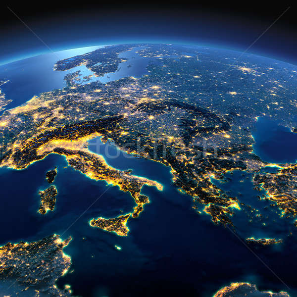 Detailed Earth. Italy, Greece and the Mediterranean Sea on a moo Stock photo © Antartis