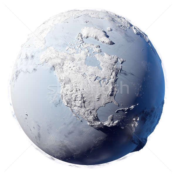 Stockfoto: Sneeuw · aarde · winter · gedekt · ijs · planeet
