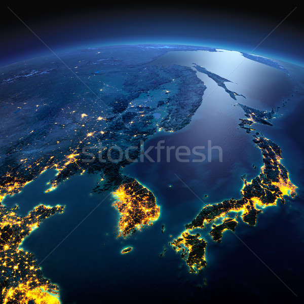 Detailed Earth. Korea and Japan on a moonlit night Stock photo © Antartis