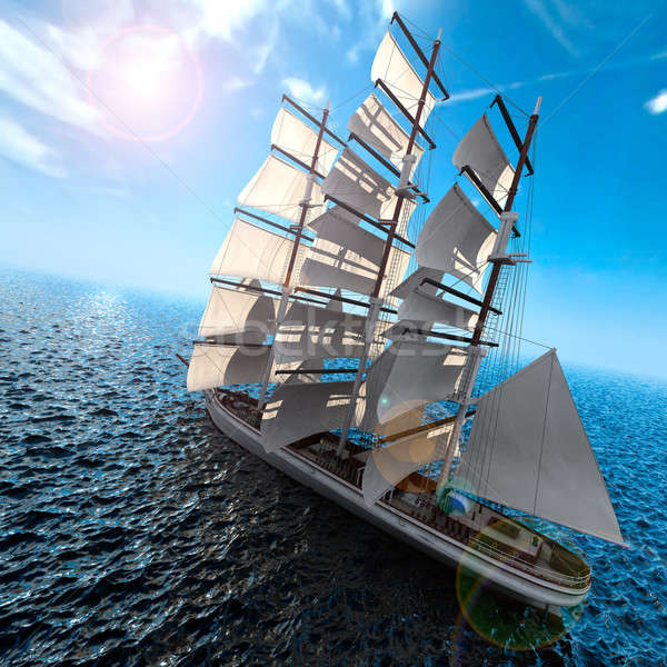 Sailing ship at sea Stock photo © Antartis