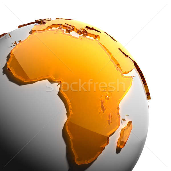 A fragment of the Earth with continents of orange glass Stock photo © Antartis
