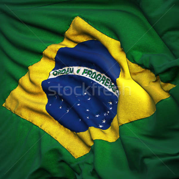 Flag of Brazil, fluttering in the breeze, backlit rising sun Stock photo © Antartis