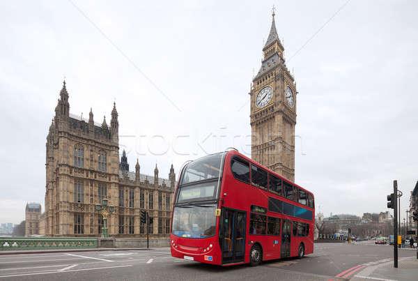 Big Ben with red double-decker in London, UK Stock photo © Antartis