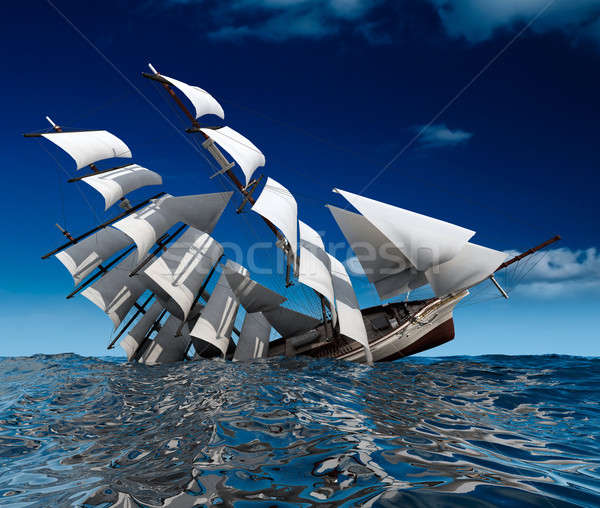 Sailing ship sinking Stock photo © Antartis