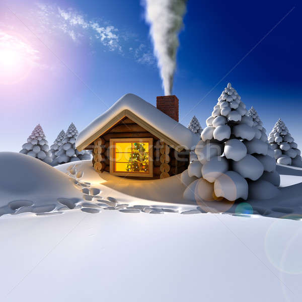 A small wooden house in a fantastic snow forest on the eve of Ne Stock photo © Antartis