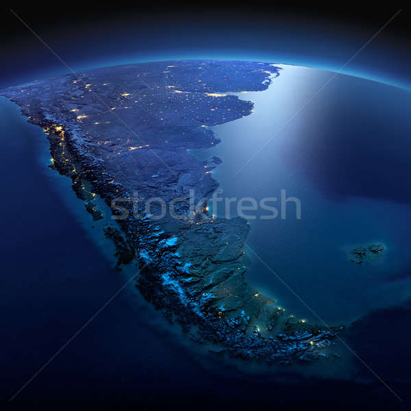 Detailed Earth. South America. Tierra del Fuego on a moonlit nig Stock photo © Antartis