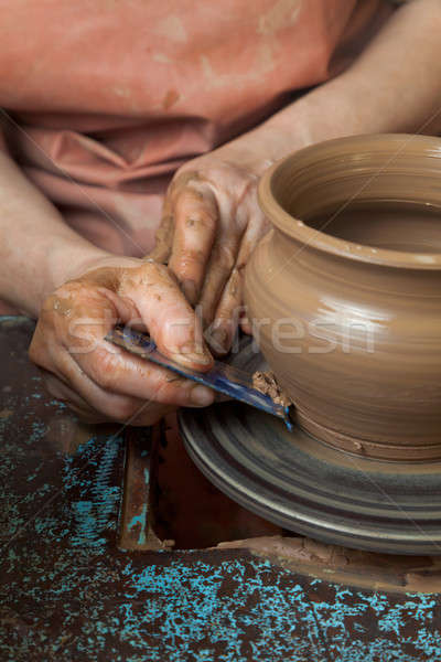Poterie roue mains jar cercle main Photo stock © Antartis