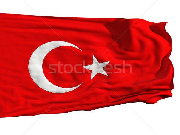 Turkish flag, fluttering in the wind Stock photo © Antartis