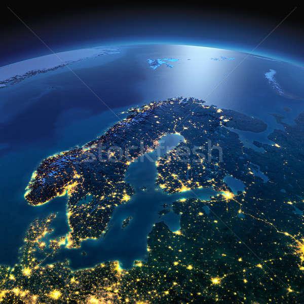 Részletes Föld Európa Skandinávia éjszaka Föld Stock fotó © Antartis