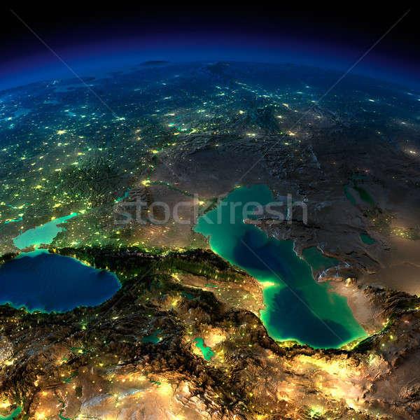 éjszaka Föld Kaukázus tenger rendkívül részletes Stock fotó © Antartis