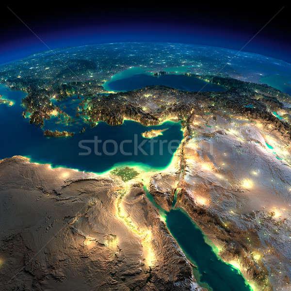 Nacht aarde afrika midden oosten gedetailleerd Stockfoto © Antartis