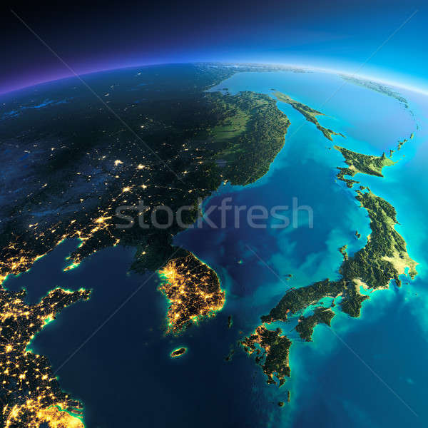 Detailed Earth. Korea and Japan Stock photo © Antartis