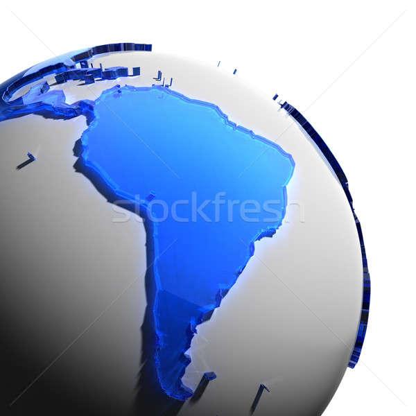 Terre continents bleu verre monde Photo stock © Antartis