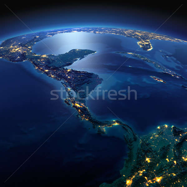 Detailed Earth. The countries of Central America on a moonlit ni Stock photo © Antartis
