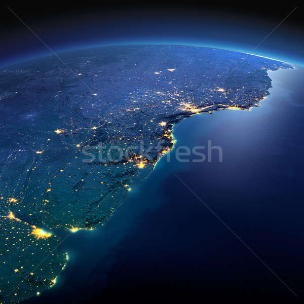 Detailed Earth. South America. Rio de La Plata on a moonlit nigh Stock photo © Antartis