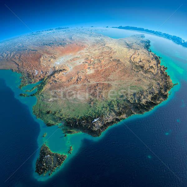 Szczegółowy ziemi Australia tasmania wysoko planety Ziemi Zdjęcia stock © Antartis