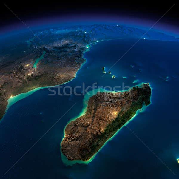 Noc ziemi Afryki Madagaskar wysoko szczegółowy Zdjęcia stock © Antartis