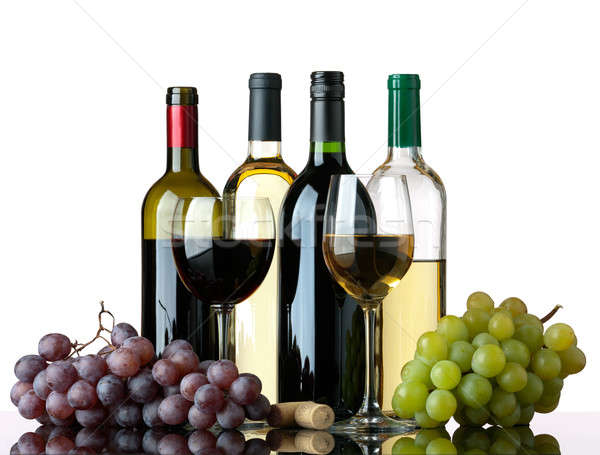 Bottles, glasses and grapes Stock photo © Antartis