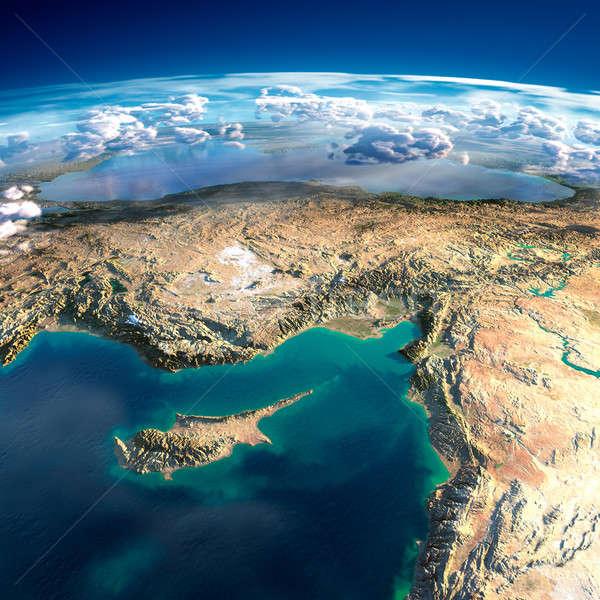 Föld Ciprus Szíria Törökország rendkívül részletes Stock fotó © Antartis