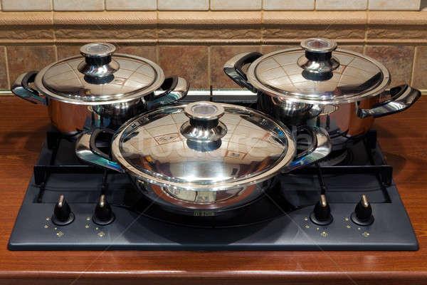 Set the pan on the stove Stock photo © Antartis