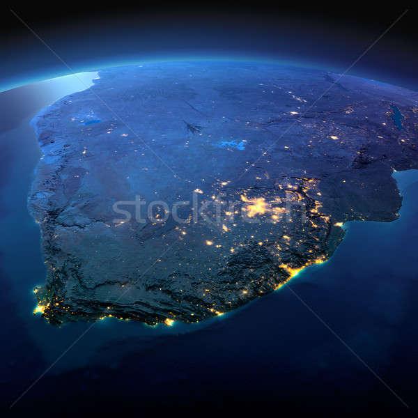 Részletes Föld Dél-Afrika éjszaka Föld precíz Stock fotó © Antartis