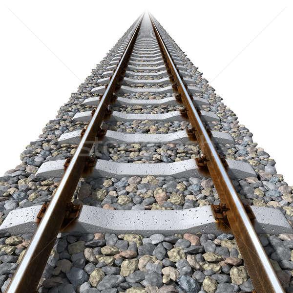 Linhas concreto ferrovia cascalho realista enferrujado Foto stock © Antartis