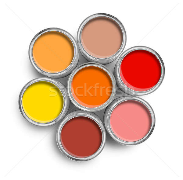 Warm color paint tin cans top Stock photo © Anterovium