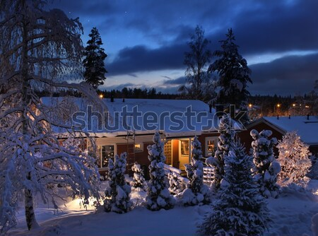 Domu christmas wieczór zimą niebieski moment Zdjęcia stock © Anterovium