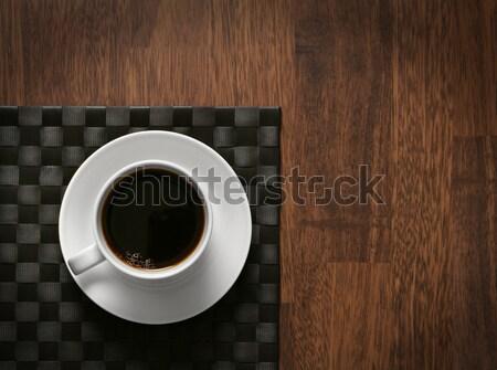 горячей кофе Кубок черный кофе деревянный стол темно Сток-фото © Anterovium