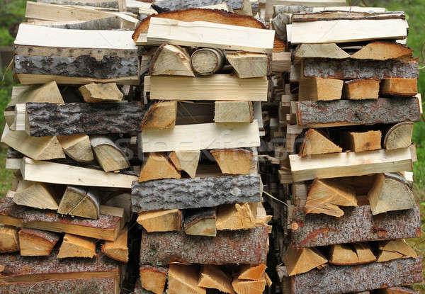 Yakacak odun kıyılmış kereste ahşap Stok fotoğraf © Anterovium