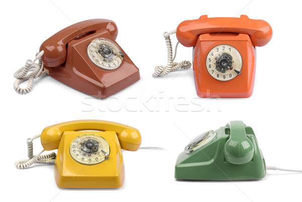 Vintage téléphone couleur ensemble isolé Photo stock © Anterovium