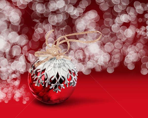 Karácsony labda piros bokeh hópehely dekoráció Stock fotó © Anterovium