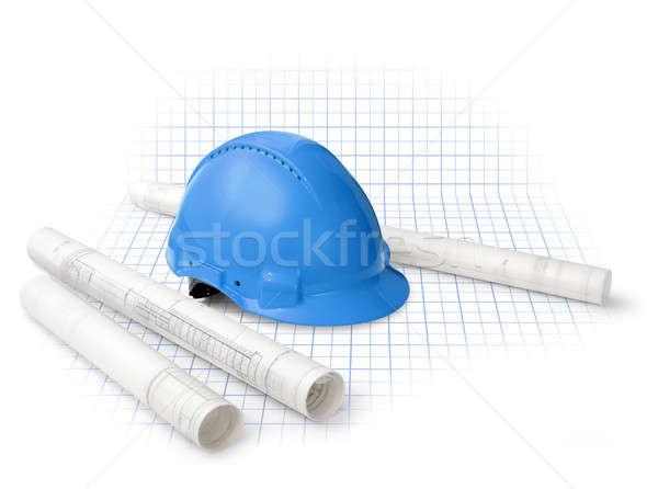 建設 計画 図面 青写真 ヘルメット 孤立した ストックフォト © Anterovium